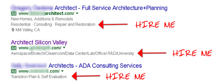 """Hire Me"" architect marketing examples"