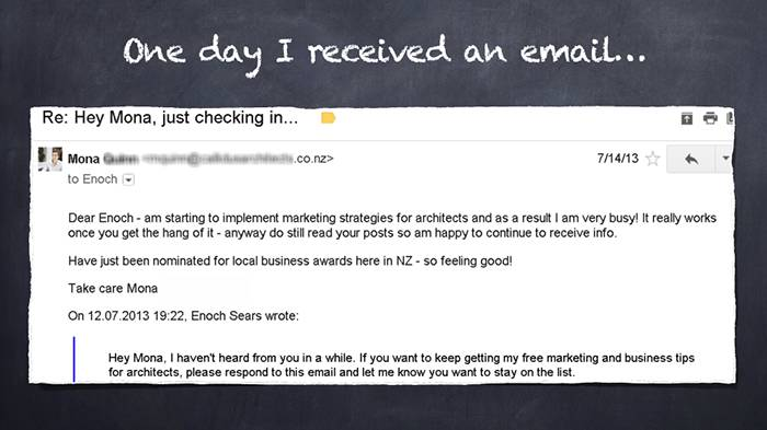 Email about architect marketing